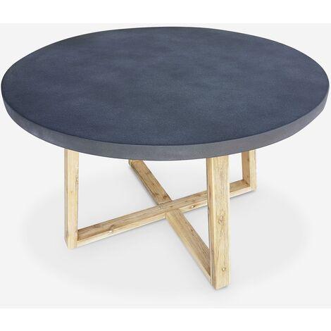 Mesa de jardín de fibrocemento Ø120cm, base de madera en forma de U - BORNEO - 4 personas, patas de madera de acacia, tablero gris - Gris