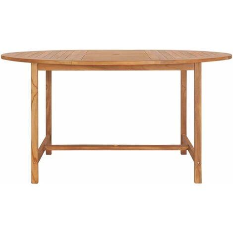 Mesa de jardín de madera de teca maciza 150x76 cm - Marrón