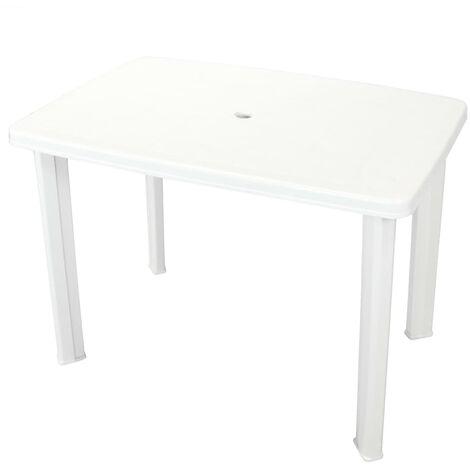Mesa de jardín de plástico blanca 101x68x72 cm