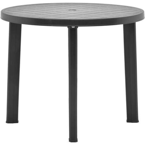 Mesa de jardin de plastico gris antracita 89 cm