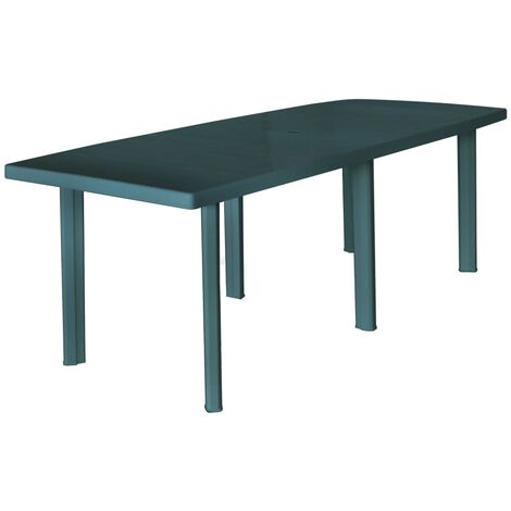 Mesa de jardín de plástico verde 210x96x72 cm