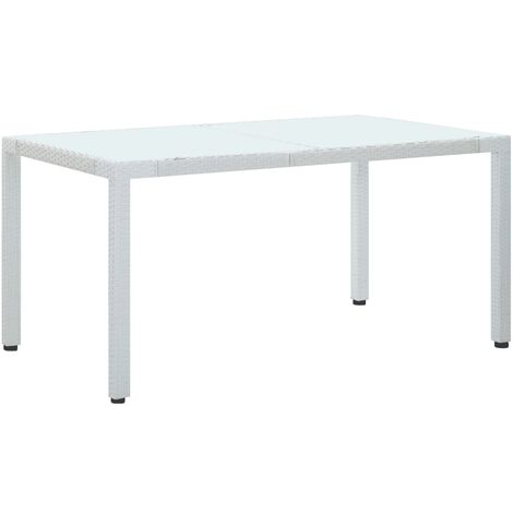 Mesa de jardín de ratán sintético blanco 150x90x75 cm
