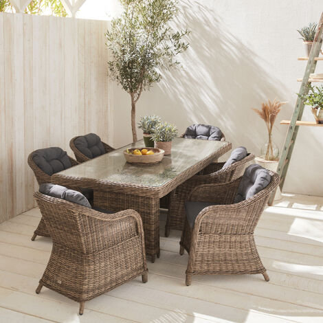Mesa de jardín de resina trenzada redonda - Gris Lecco - Cojín beige - 6 asientos - 6 sillones, mesa grande