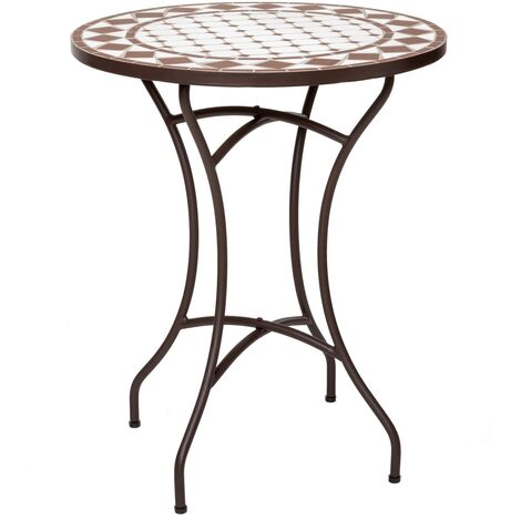 Mesa de jardín Delfos con mosaico de cerámica blanca y hierro de Ø 60x72 cm