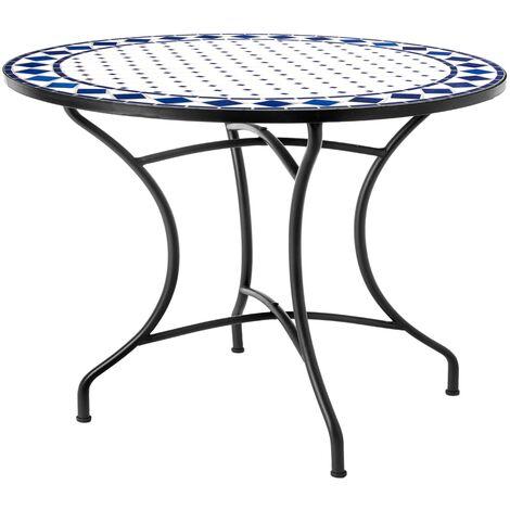 Mesa de jardín Delfos de comedor con mosaico de cerámica azul y hierro de Ø 90x75 cm