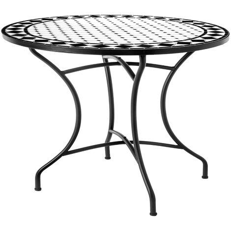 Mesa de jardín Delfos de comedor con mosaico de cerámica y hierro negra de Ø 90X75 cm