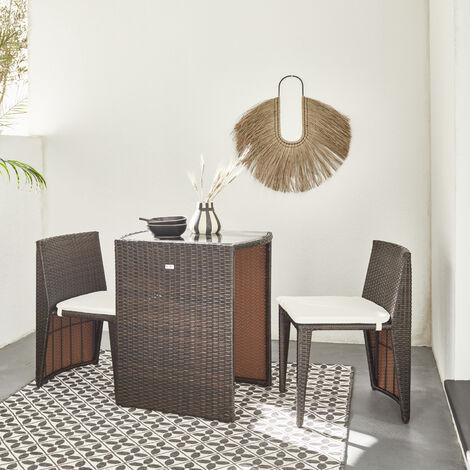 Mesa de jardín dúo de resina trenzada - Doppio