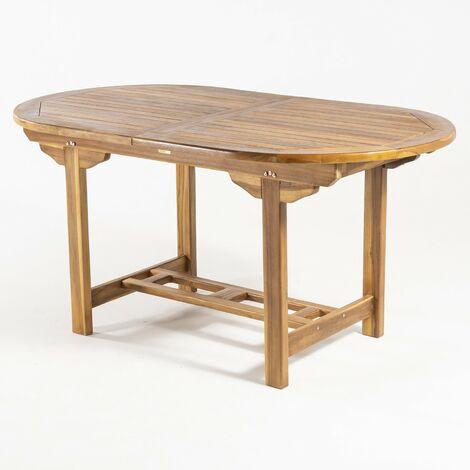 Mesa de jardín extensible 160/210 cm de madera teca | Madera teca grado A | Ovalada | Tamaño: 160/210x90x77 cm | Tratamiento al agua aplicado | Portes gratis