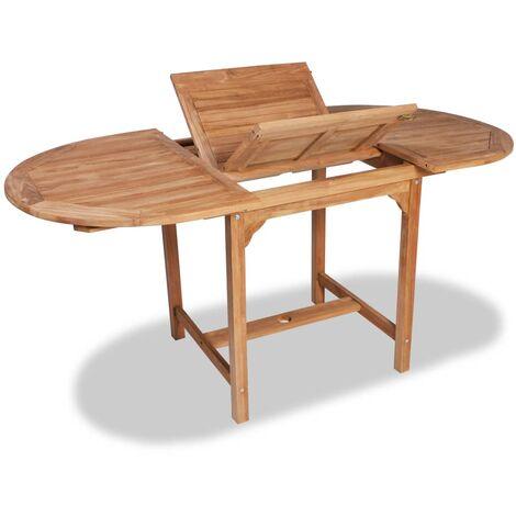 Mesa de jardín extensible madera teca maciza (110-160)x80x75cm