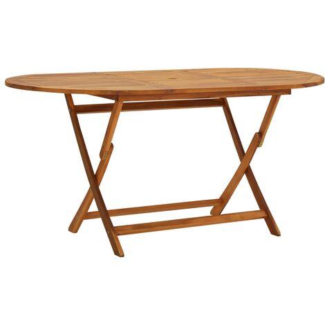 Mesa de jardín madera maciza de acacia 160x85x75 cm
