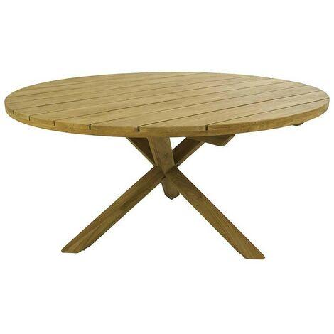 Mesa de jardín madera teca reciclada redonda | Teca grado A de alta calidad | Aspecto rústico | Tamaño: 150x74 cm | Portes gratis