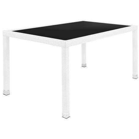 Mesa de jardín Marlene de cristal y rattán sintético blancode 160x90x76 cm