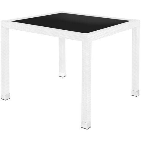 Mesa de jardín Marlene de cristal y rattán sintético blancode 90x90x76 cm