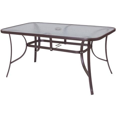 Mesa de jardín Neila de acero y cristal marrón de 150x90x72cm