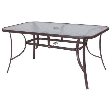 Mesa de jardín Neila de acero y cristal marrón de 72x100x180 cm