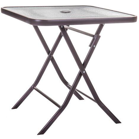 Mesa de jardín Neila plegable de acero y cristal marrón de 70x70x72 cm