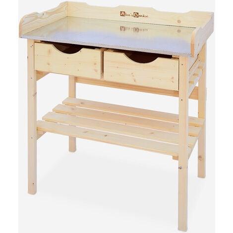 Mesa de jardín PETUNIA con 2 cajones, huerto de madera al aire libre, mesa de cultivo - Madera