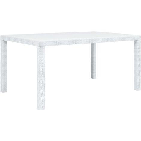 Mesa de jardín plástico aspecto de ratán blanco 150x90x72 cm