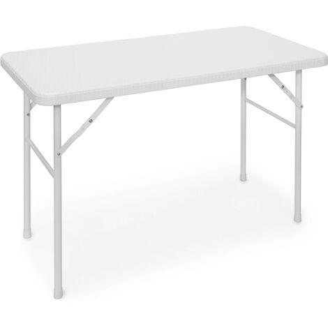 - Mesa de jardín plegable BASTIAN, hecho de plástico con aspecto de rattan, 74 x 121.5 x 61.5 cm, mesa auxiliar, acampar, balcón, rectangular, color blanco