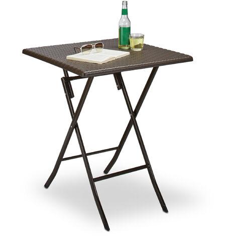 - Mesa de jardín plegable BASTIAN, hecho de plástico con aspecto de rattan, 74 x 61.5 x 61.5 cm, mesa auxiliar, acampar, balcón, cuadrada, color marrón