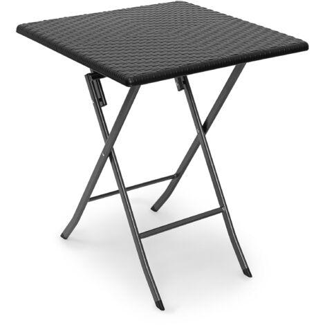 - Mesa de jardín plegable BASTIAN, hecho de plástico con aspecto de rattan, 74 x 61.5 x 61.5 cm, mesa auxiliar, acampar, balcón, cuadrada, color negro