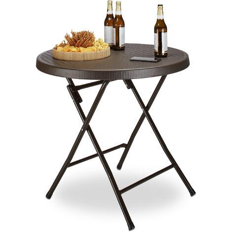- Mesa de jardín plegable BASTIAN, hecho de plástico con aspecto de rattan, 74 x 80 x 80 cm, mesa auxiliar acampar balcón redonda, color marrón