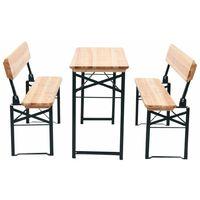 Mesa de jardín plegable con 2 bancos madera de abeto 118 cm