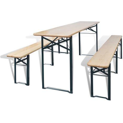Mesa de jardin plegable con 2 bancos madera de abeto 220 cm