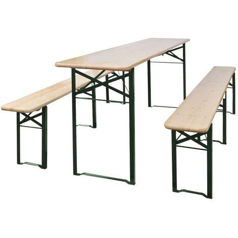 Mesa de jardín plegable con 2 bancos madera de abeto 220 cm - Marrón