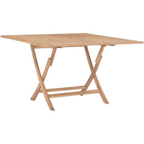 Mesa de jardín plegable de madera maciza de teca 120x120x75 cm - Marrón