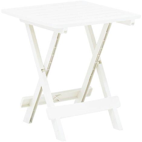 Mesa de jardin plegable de plastico blanco 45x43x50 cm