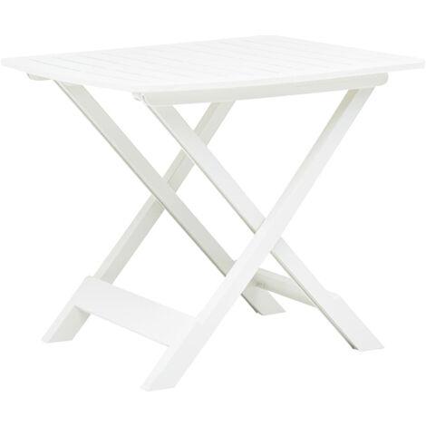 Mesa de jardin plegable de plastico blanco 79x72x70 cm