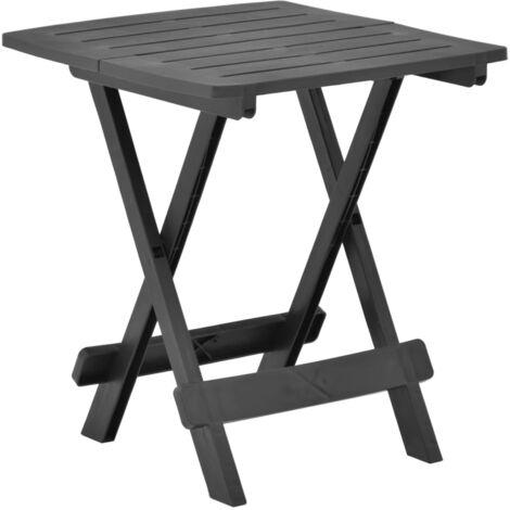 Mesa de jardin plegable de plastico gris antracita 45x43x50 cm