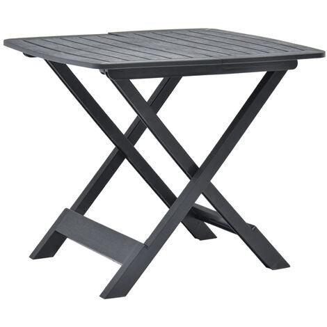 Mesa de jardin plegable de plastico gris antracita 79x72x70 cm