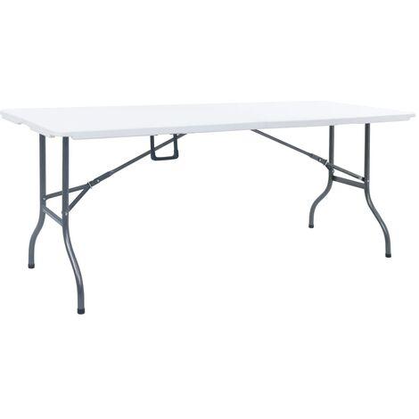Mesa de jardín plegable HDPE blanco 180x72x72 cm - Blanco