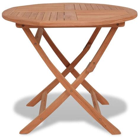 Mesa de jardin plegable madera de teca maciza 85x76 cm