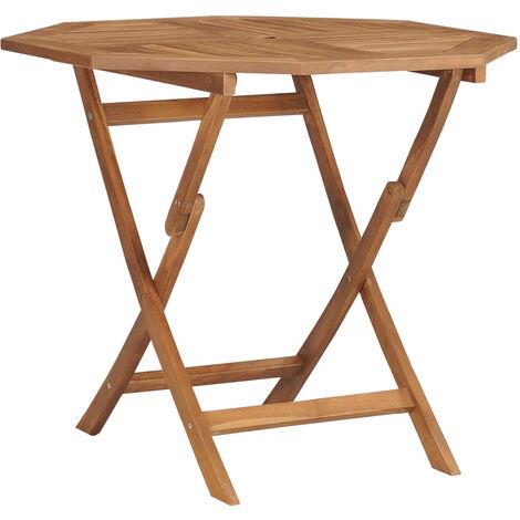 Mesa de jardin plegable madera de teca maciza 85x85x76 cm