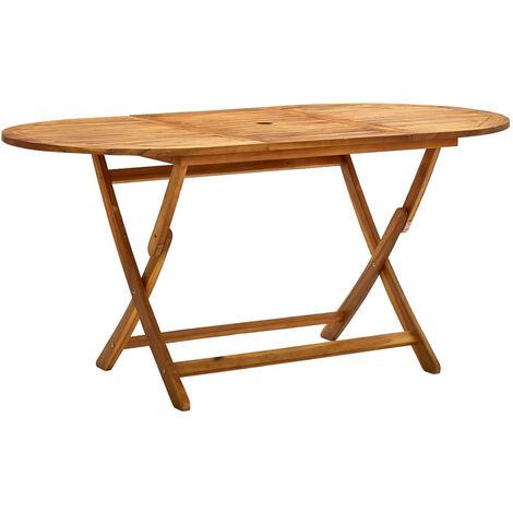 Mesa de jardin plegable madera maciza de acacia 160x85x75 cm