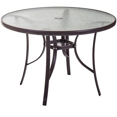 Mesa de jardín redonda Neila de acero y cristal marrón de Ø120x72 cm
