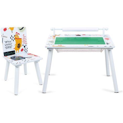 Mesa de juegos niños infantil madera dibujos construir y jugar niños con 1 silla