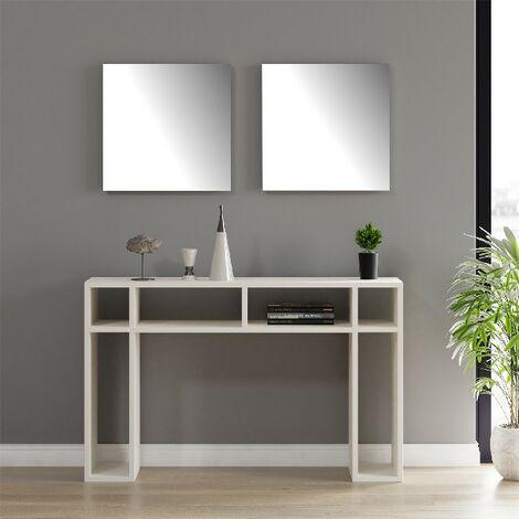Mesa de la consola Hello - para la entrada, la sala de estar, la sala de estar - Blanco en Aglomerado de melamina, espejo, 120 x 30 x 75 cm