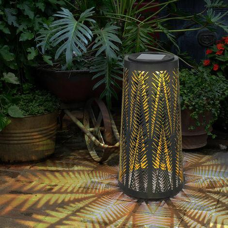 Mesa de lámpara solar exterior Mesa de luz solar para exterior Farol solar balcón negro, columna con efecto de luz, interior dorado, 1x LED blanco cálido, H 24,5 cm