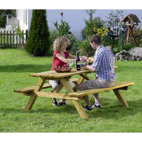 Mesa de madera con bancos PICNIC - NEOFERR - 66035 - 180X170X75 Cm