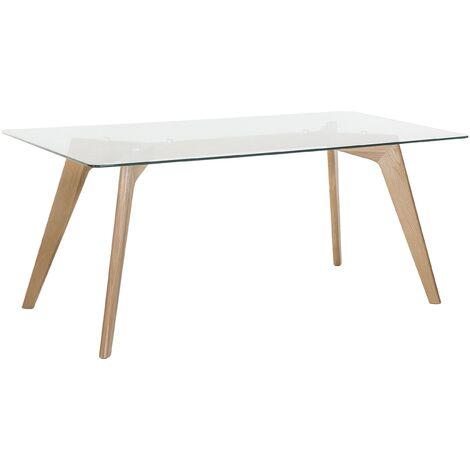 Mesa de madera con tablero de vidrio 180x90 cm HUDSON