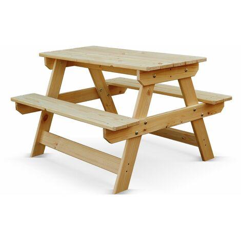 Mesa de madera para niños - PADANO Junior - mesa rectangular para picnic para niños con bancos de pino FSC, fabricada en Europa - Madera