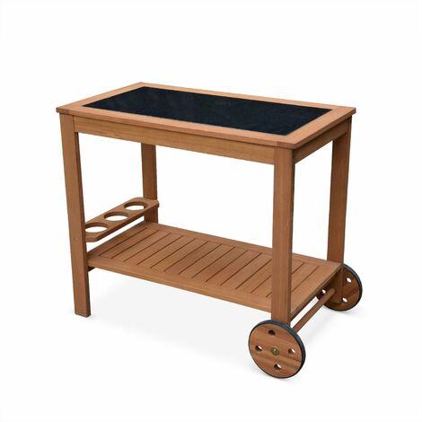 Mesa de madera y encimera de granito CADIX con soporte para botellas y ruedas