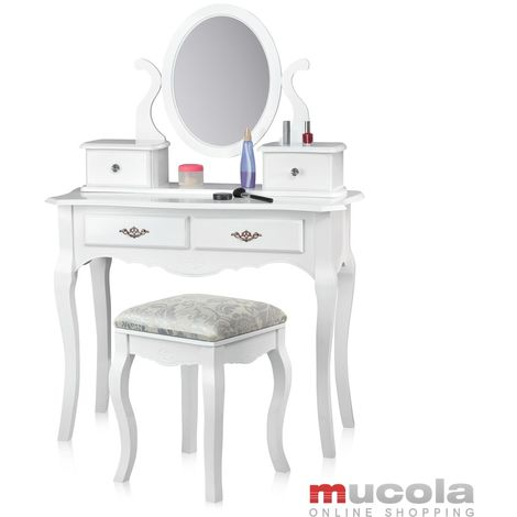 Mesa de maquillaje Mesa de cosmética Tocador Espejo Taburete tapizado Tocador