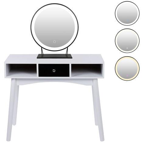 Mesa de Maquillaje Mesa de escritorio Juego de Tocador con 40cm Espejo de maquillaje Espejo 90x39.5x75cm