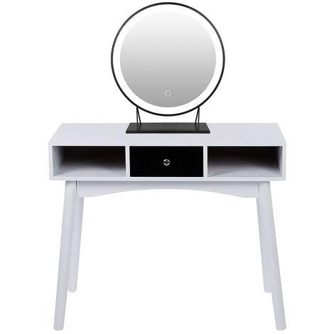 Mesa de Maquillaje Mesa de escritorio Juego de Tocador con 40cm Espejo de maquillaje Espejo(Luz blanca)
