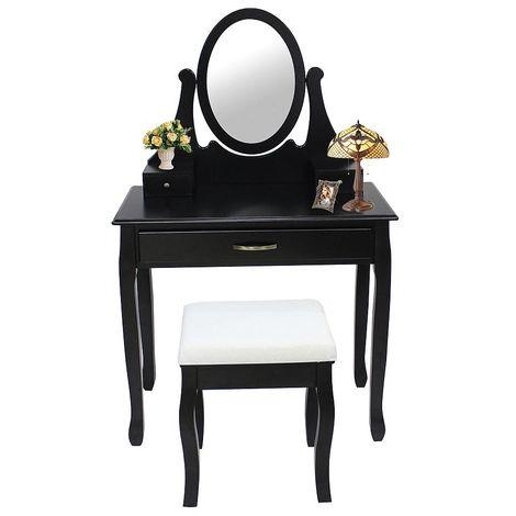 Mesa de Maquillaje, Tocador, 3 cajones, espejo ovalado, Negro, Material: MDF, Madera paulownia